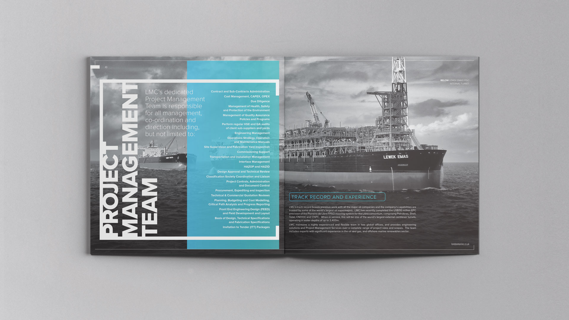 Brochure design | London Marine Consultants | Creative design and marketing for the marine engineering industry